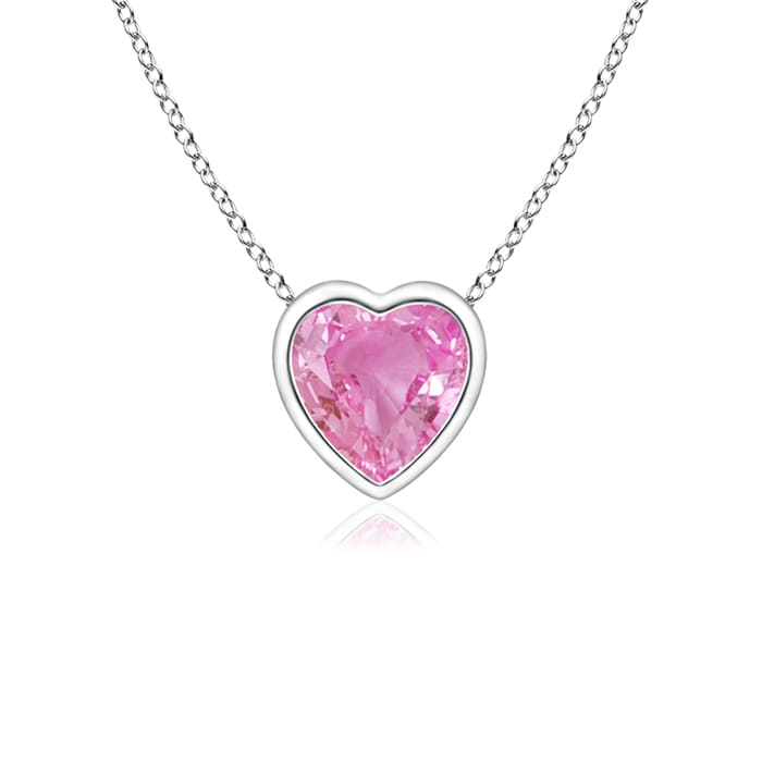 Mother's Day Jewelry Necklace Bezel Set Solitaire Heart Shaped Pink Sapphire Pendant in 950 Platinum (4mm Pink Sapphire)... by Angara.com