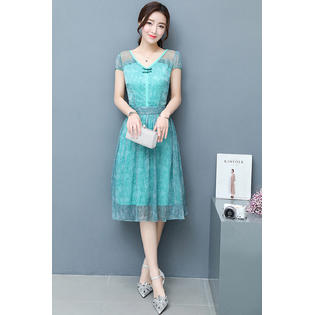 Women Chiffon Lace Sleeves Party Dress Light Sea Green