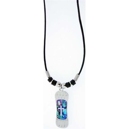 Necklace-Blue Paua Shell Snowboard w/Cross-Adj