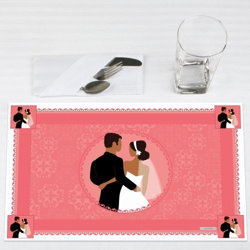 Wedding Couples Coral Party Placemats Set of 12 by Big Dot of Happiness, LLC