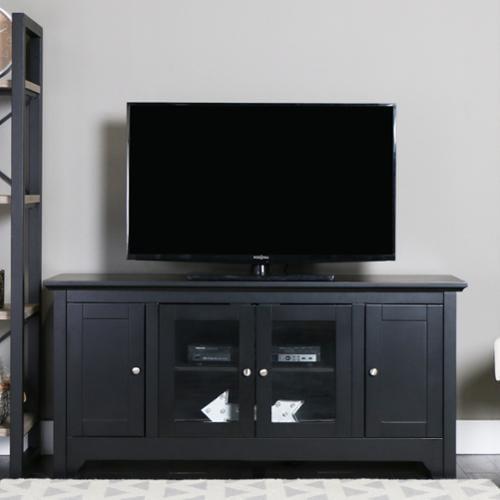 Walker Edison 53 Tv Stand Console Black 53 X 16 X 25h Walmart Com