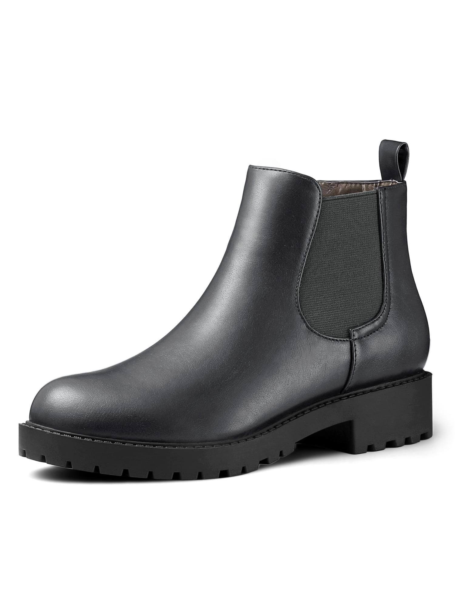 Unique Bargains Women's Round Toe Chelsea Low Heel Ankle Boots Gray (Size 9)