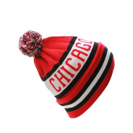 American Cities USA Favorite City Cuff Winter Beanie Knit Pom Pom Hat Cap (American Flag Pom Pom Hat)