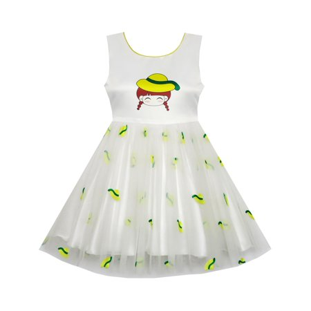 Girls Dress Cartoon Girl Pattern Tulle Overlay Party Pageant 2