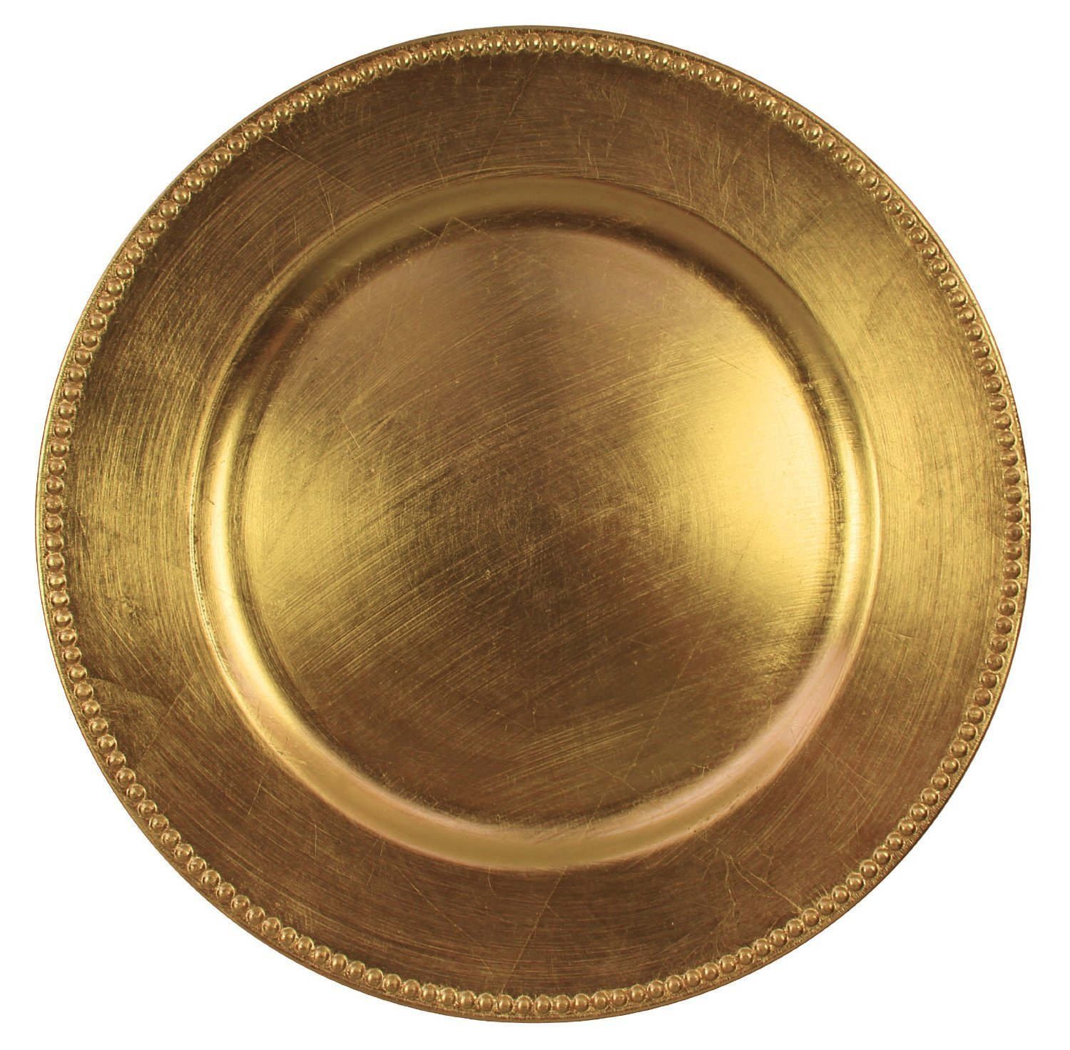 Round Charger Beaded Dinner Plates, Gold 13 inch, Set of 1,2,4,6, or 12 (6)