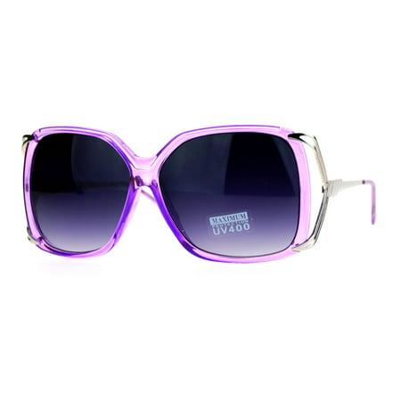 SA106 Womens Oversize Designer Fashion Metal Bow Butterfly Sunglasses Purple - Purple Sunglasses Cheap