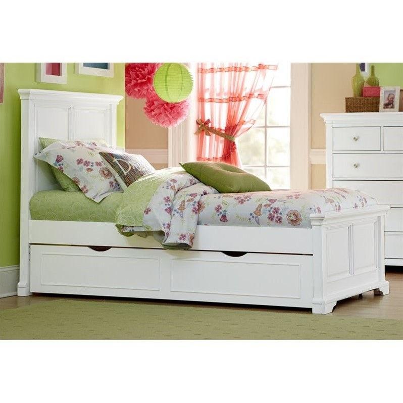 NE Kids Walnut Street Devon Twin Panel Bed with Trundle in White
