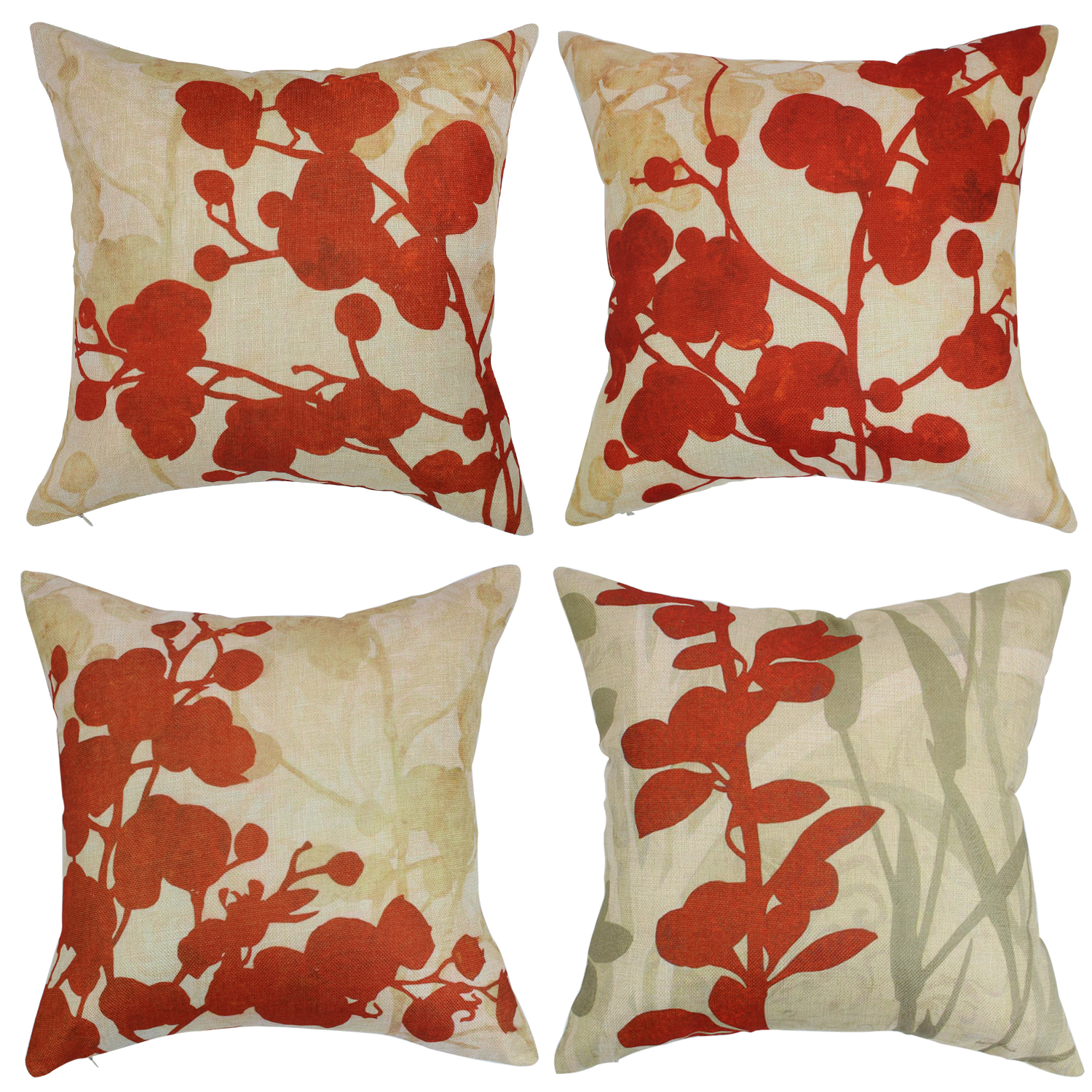 Wendana Red Floral Decorative Pillow Covers For Sofa,Set Of 4 Pieces  Flowers Couch Throws