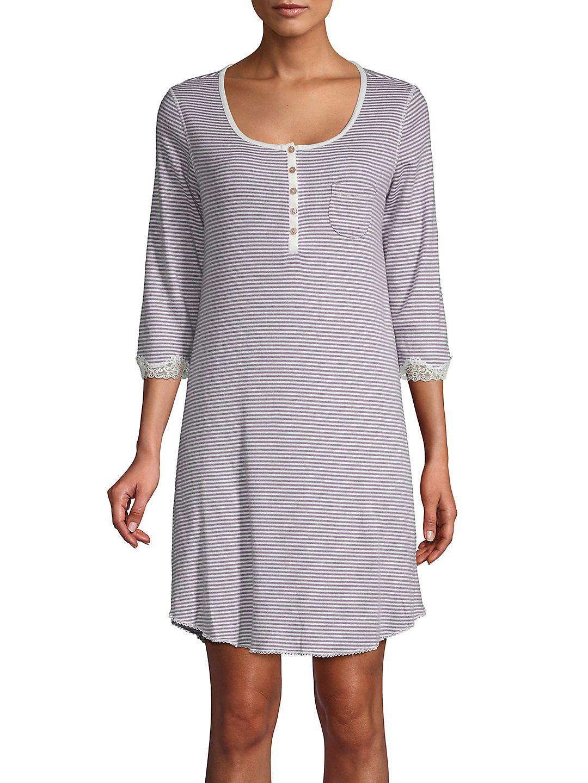 Striped Three-Quarter Sleep Dress