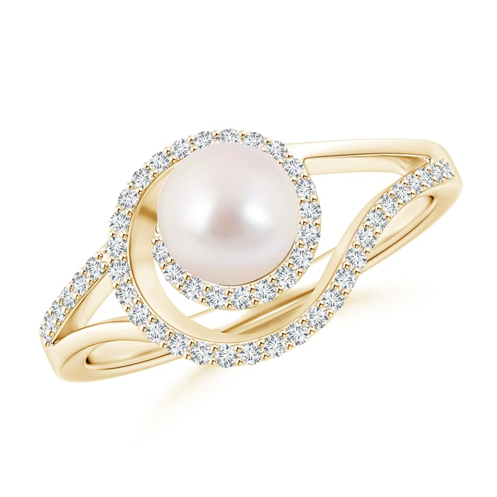 June Birthstone Akoya Cultured Pearl Spiral Halo Engagement Ring for Women with Diamond Accents in 14K Yellow Gold (6mm... by Angara.com