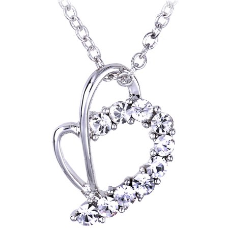 Abstract Heart Necklace - Crystal Elements Clear Colored Abstract Heart Shaped Pendant Necklace