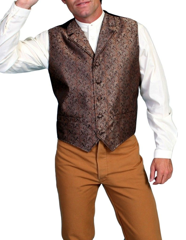 Scully Old West Vest Mens Classic Notched Lapels Dry Clean Only RW129