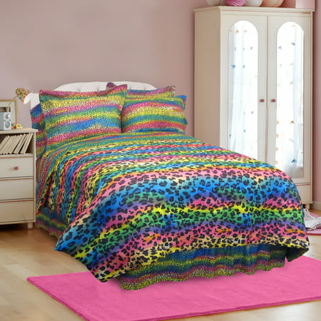 Rainbow Leopard Print - Veratex Rainbow Leopard 3 4 Piece Comforter Set