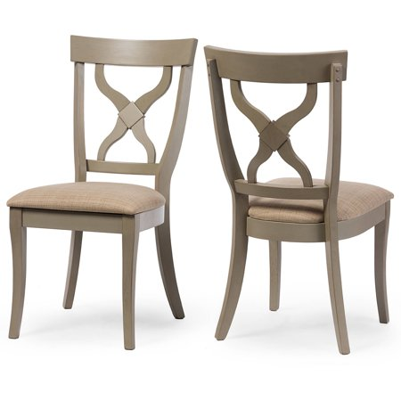 Baxton Studio Balmoral Chic Country Cottage Antique Oak Wood and Distressed Light Grey X-Back Dining Side Chair, Set of 2 ()