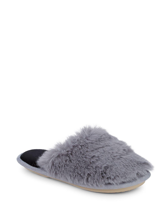 Faux-Fur Mule Slippers
