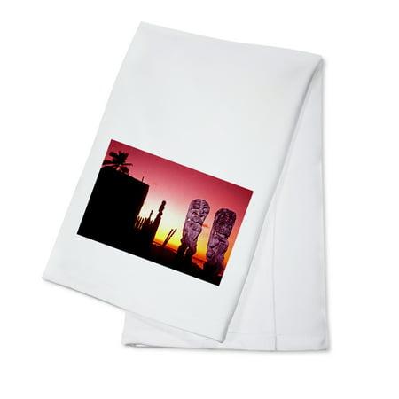 Tiki Statues & Sunset - Lantern Press Photography (100% Cotton Kitchen Towel)](Tiki Lanterns)