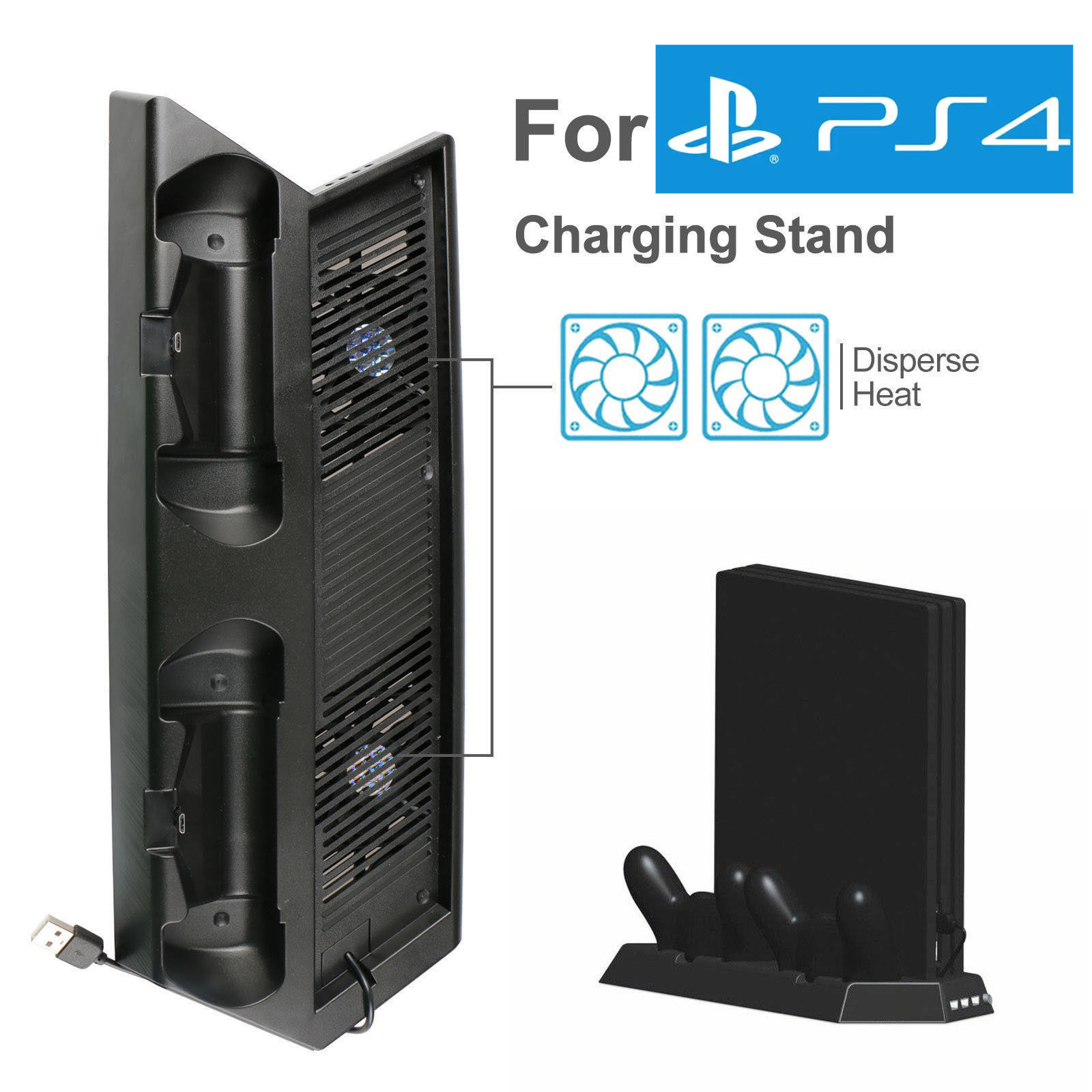 Vertical 2 High Speed Fans 2 Dual Charging Station Dock Charger for PS4 Pro LED