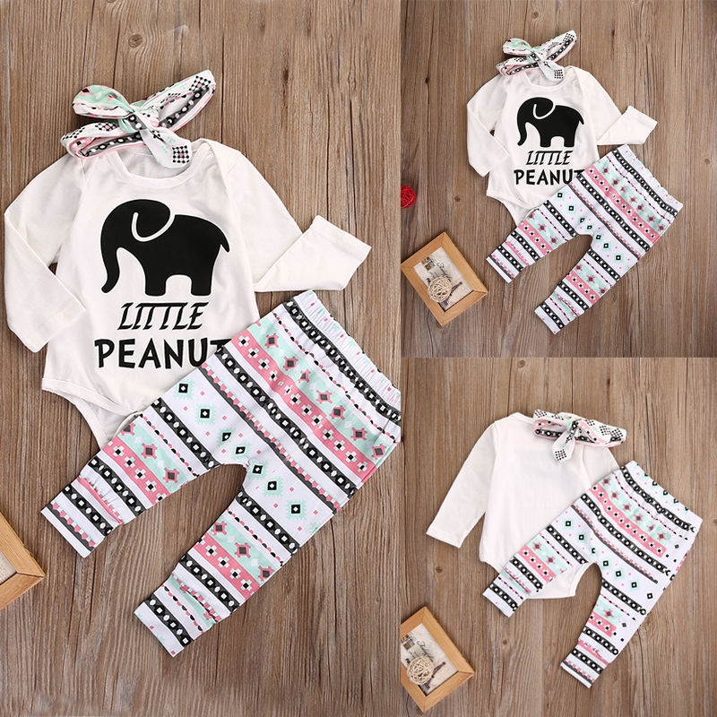 Newborn Infant Baby Boy Girl Elephant Headband+Romper+Pant Legging Outfits Set