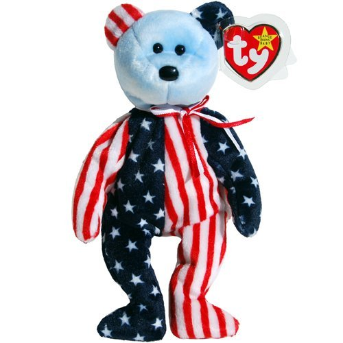 Ty Beanie Babies Spangle the Stars & Stripes Patriotic Teddy Bear Blue Face, Official Ty Beanie Baby Product... by