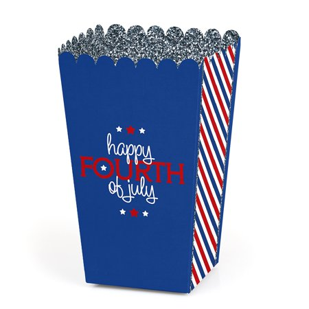 4th of July - Independence Day Party Favor Popcorn Treat Boxes - Set of 12