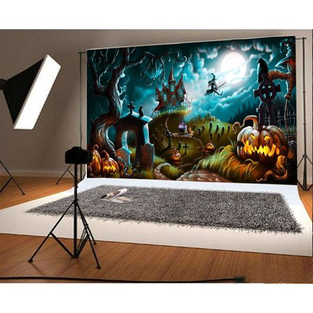 GreenDecor Polyester Fabric 7x5ft Halloween Backdrop for Kids Creepy Graveyard Halloween Laterns Witchs Castle Crow Enchanted Forests Children Baby Video Studio - Halloween Backdrops Nz