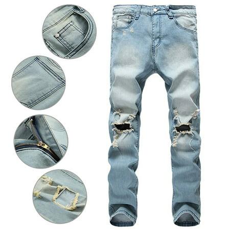 c5576b58e367 Hemiks - Hemiks Men s Zipper Biker Jeans Ripped Distressed Slit Denim Slim  Stretch Jeans - Walmart.com