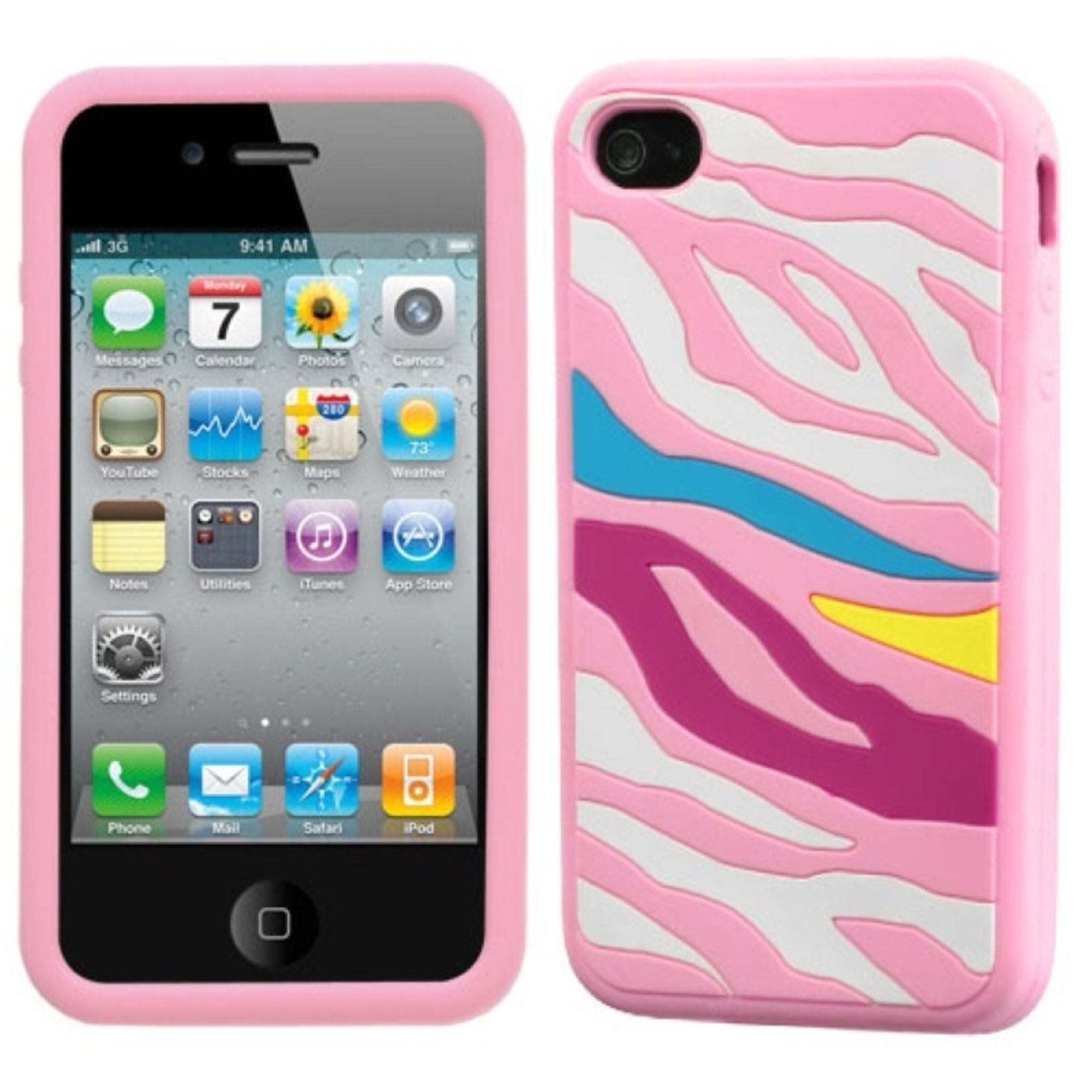 Insten Rainbow Zebra/Pink Pastel Skin Case For iPhone 4 4S