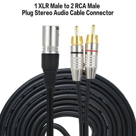 1 XLR Male to 2 RCA Male Plug Stereo Audio Cable Connector Y Splitter Wire Cord (2 meters / 6.6ft) for Microphone Mixing Console Amplifier Analog Audio Amplifier Splitter