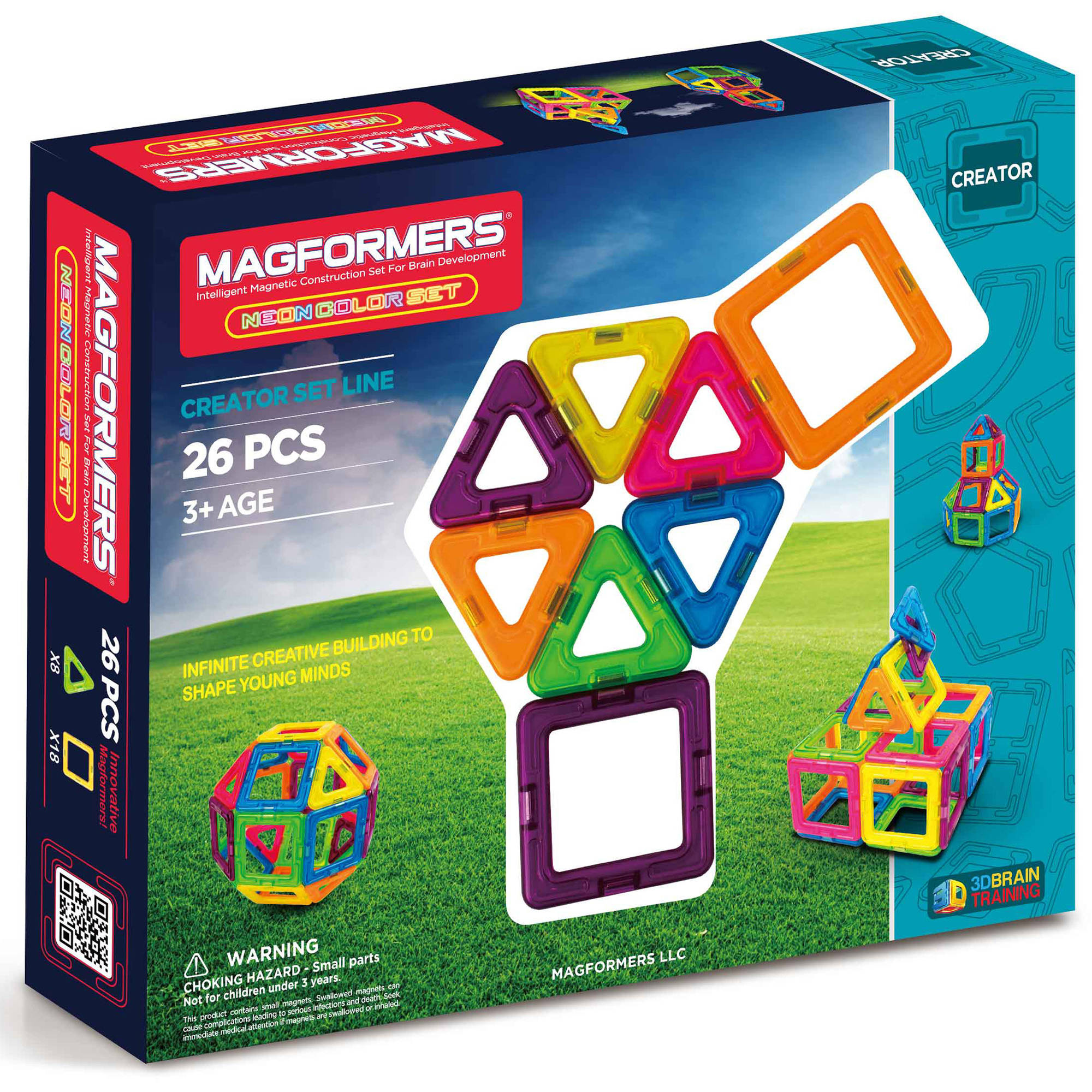 MAGFORMERS Neon 26-Piece Magnetic Construction Set