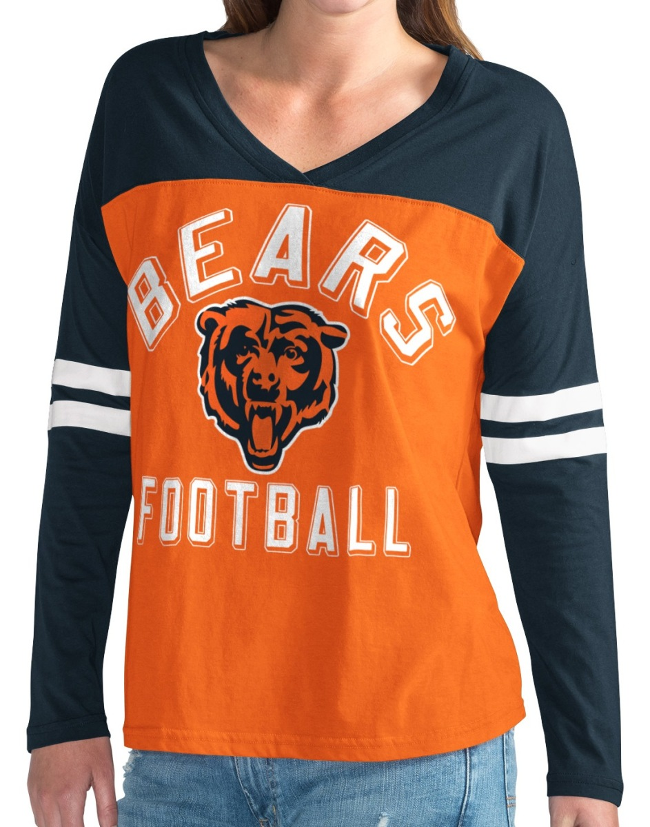 "Chicago Bears NFL Women's G-III ""Goal Line"" Long Sleeve V-Neck T-shirt by G-III Sports"