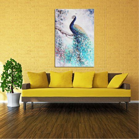 Unframed Print Canvas Wall Art Peacock Painting Picture Wall Hanging Home Living Room Decor 20''x30''/16''x24'' ()