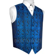 Italian Design, Men's Formal Tuxedo Vest for Prom, Wedding, Cruise , in Royal Blue Paisley