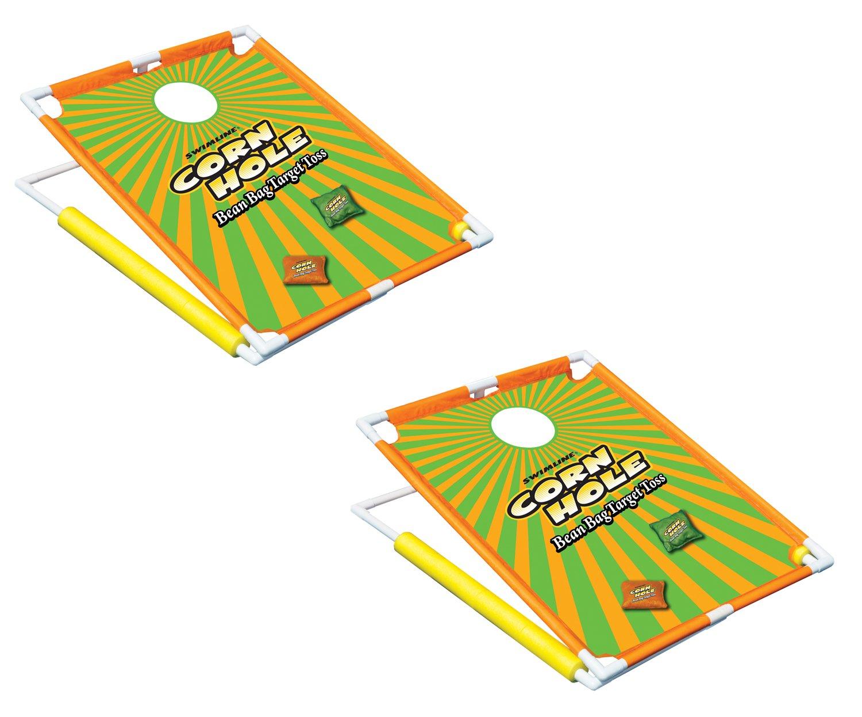 Swimline 91690 Swimming Pool Floating Cornhole Beanbags Toss Game Set 2 Boards by Swimline