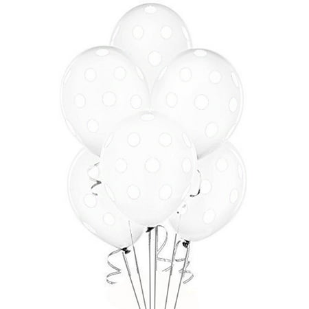 Polka Dot Balloons 11in Premium Crystal Clear with All-Over print white Dots Pkg/100](Clear Balloons)