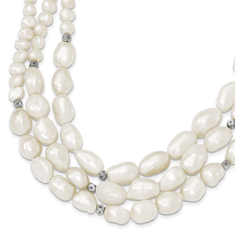 Sterling Silver 16in 3-Strand Freshwater Cultured Pearl Necklace