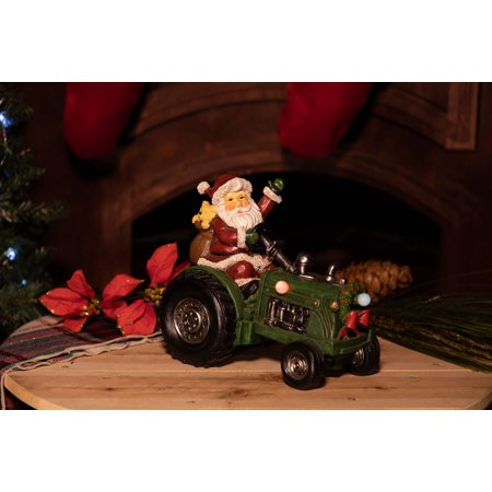 Alpine Santa on Tractor with LED Color Changing Lights and Timer, 9 Inch