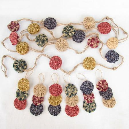 - Jute & Plaid Homespun Garland Plus 6 Yoyo Ornaments  for Christmas Tree by Jubilee Creative Studio