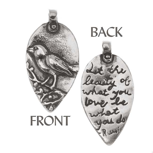 Green Girl Studios Pendant, 16x32mm Rumi Bird, 1 Piece, Sterling Silver