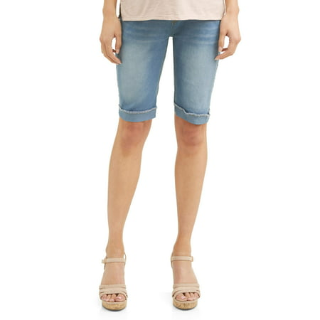 Oh! Mamma Maternity Full Panel Denim Bermuda Shorts - Available in Plus Sizes