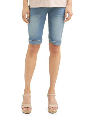 cd177d7ffc Product Image Oh! Mamma Maternity Full Panel Denim Shorts with Rolled Cuff  - Available in Plus Sizes