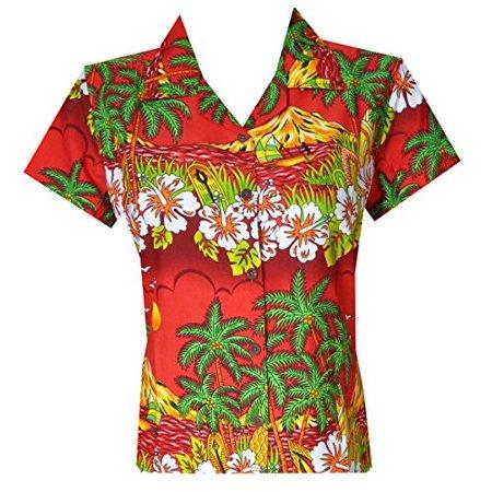 11cc67e4 alvish - Hawaiian Shirts 44W Womens Floral Scenic Beach Aloha Top Blouse Red  L - Walmart.com