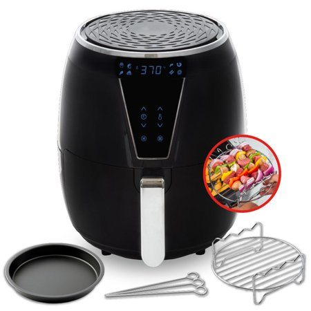 Aria 5Qt Premium Ceramic Air Fryer with 2-Tier Stainless Steel Rack, Baking Pan, Skewers, and Full Color Recipe Book