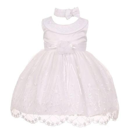Baby Girls White Floral Sleeveless Bow Neckband Christening Dress 3-24M