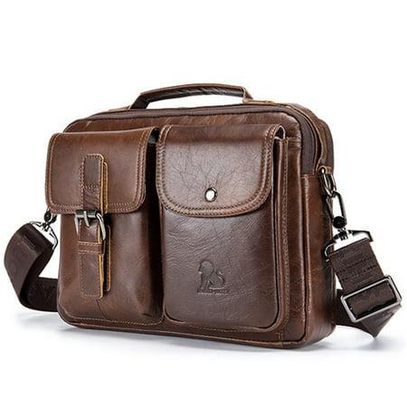 Meigar Men Vintage Genuine Leather Business Handbag Briefcase Crossbody Shoulder Bag ()