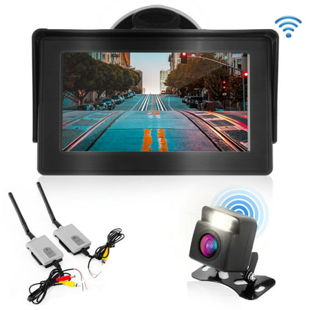 PYLE PLCM4580WIR - 2.4Ghz Backup Camera & Video Monitor System with Wireless Video Transmission, Waterproof Rated Cam, Night Vision, 4.3'' -inch