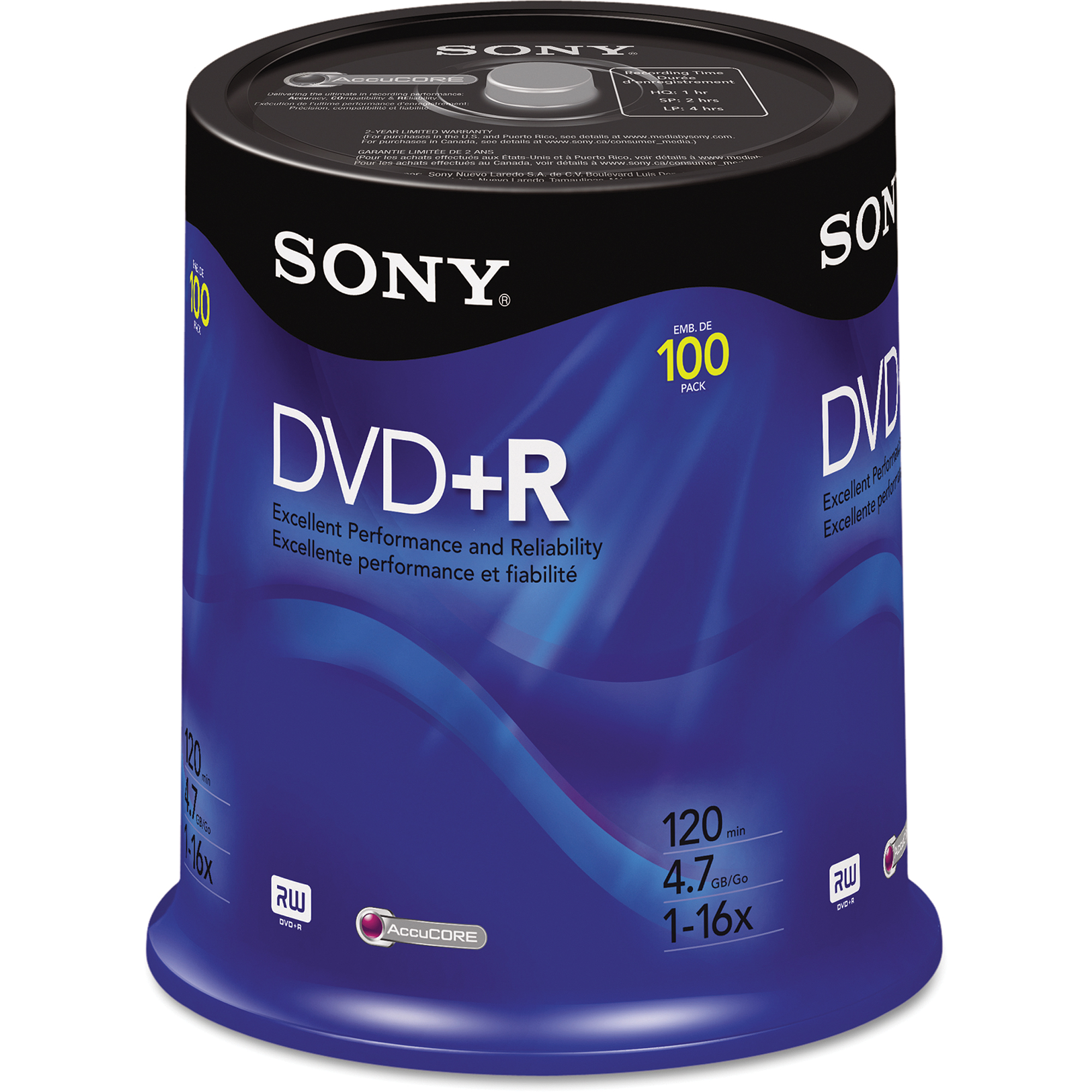 Sony 100pk DVD R Discs, 4.7GB, 16x Spindle