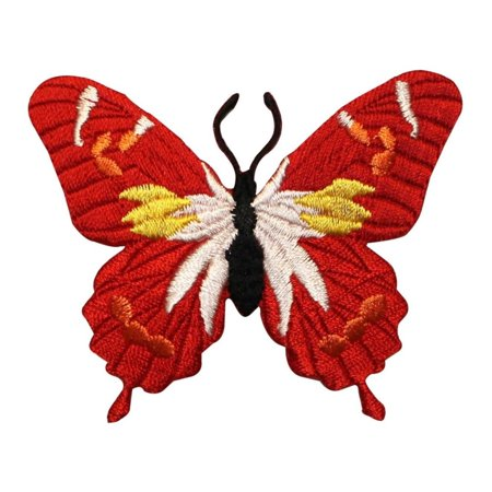 ID 2188 Scarlet Butterfly Patch Garden Fairy Insect Embroidered Iron On Applique
