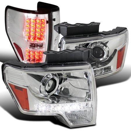 Spec-D Tuning For 2009-2014 Ford F150 Chrome Clear Led Strip Projector Headlights + Clear Led Tail Lamps (Left+Right) 2009 2010 2011 2012 2013