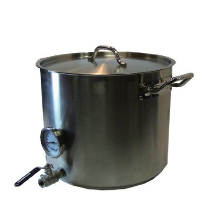 HomeBrewStuff Heavy Duty 15 Gallon Home Beer Brewing Kettle w/ Valve and Thermometer ()