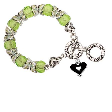 Black and White Enamel Heart Lime Green Butterfly Bead Charm Bracelet (Black And White Hearts)